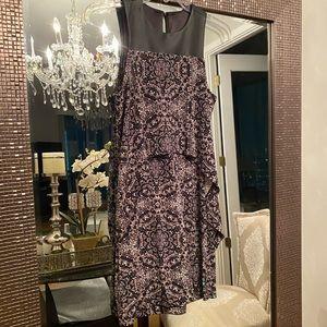 BCBG Generation black leather/pattern dress